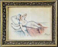 Aquarell liegende junge Frau, signiert P.Dupont,1920 1930, gerahmt, 44 x 35 cm