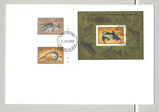 Ghana #1573, 1576-77 Fish Black o/p Rotary 2v Imperf & 1v Imperf S/S on 1v FDC