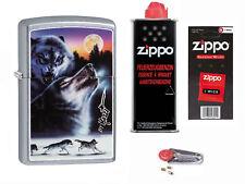 Zippo Mazzi Wölfe Wolves + Starter Pack mit Benzin,Docht + Feuersteine 60003493