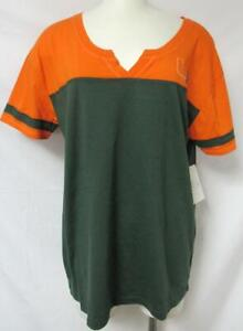 Starter Miami Hurricanes Women's Size Medium Split V-Neck T-Shirt A1 3422