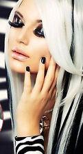 Haarverlängerung  Clip In Extensions  70 cm weiß  Strähne Haarteil  Tresse