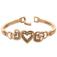 New Elegant Women's Gold Plated Crystal Cuff Bangle Love Heart Charm Bracelet F