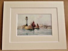 PENZANCE LIGHTHOUSE ANTIQUE DOUBLE MOUNTED PRINT 1908 10X8 VERY RARE RANDALL