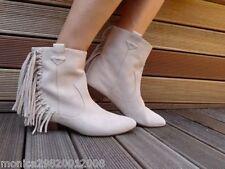 Botas al Tobillo Zara Flecos De Cuero UK 4 5 6 7