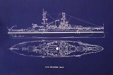 "Ships Plan Battleship USS Oklahoma BB-37 WW2 Pearl Harbor Blueprint 20""x24""(026)"