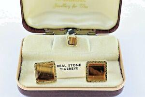 TIGER EYE Stone cufflinks and tie pin set H. Samuel vintage
