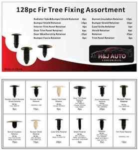 128 pc Fir Tree Clip Assortment Box Tray Set 6mm - 12mm Universal General Use