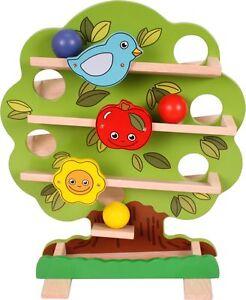 Holzkugelbahn Kugelbahn mit Kugeln Baumform farbig NEU