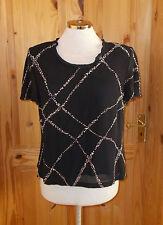 JACQUES VERT  black ivory off-white chiffon short sleeve blouse tunic top 12 38