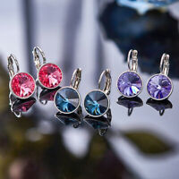 Large Bella Earrings Made with Swarovski Crystal Silver Plated Bezel Lever