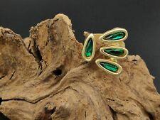 Bague Doré Femme Zamak Bain Argent Vitre Vert Anneaux Bijoux Fantaisie