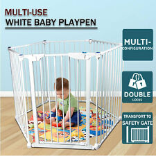 6-in-1 Baby Child Toddler Kids Metal Playpen Safety Gate Divider Fence Portable