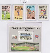 Solomon Islands 1988 Seoul Olympics set of 4 Stamps and Miniature Sheet UM
