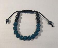 Shamballa Bracelet Adjustable Turquoise/Black