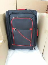Collapsible Cabin Trolley Case Folding Suitcase Black & Red