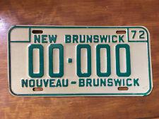 1972 New Brunswick Sample License Plate #00000