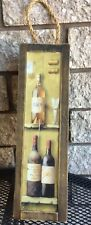 Wood Hinged Latched Single Wine Bottle Box Carrier W/ Rope For Hanging