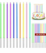 20 Pieces Thin Long Tall Rainbow Birthday Cake Candles Blue/Pink/Green/Yellow