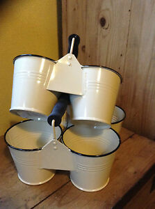 French Style Enamel Pair of Double Storage Pails