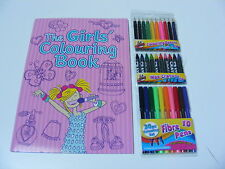 CHILDRENS KIDS THE GIRLS COLOUR COLOURING BOOK & SET OF 30 COLOUR PEN + PENCILS