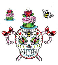 MEXICAN SUGAR SKULL CANDY CANES BOWS PINK CUPCAKE & BEES 3 STICKER/ DECAL SET
