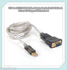 USB to RS232 DB9 Male Adapter 9-pin Serial Cable & Driver CD Support Windows 8