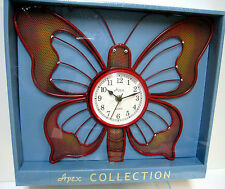 New Butterfly Shaped Red Quartz Metal Wall Clock Butterflies Clocks
