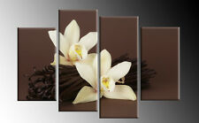 Brown Orchid Floral Canvas 4 Panel Flower Wall Art Picture Split cascading 40""