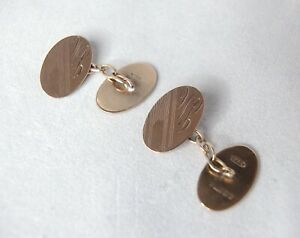 Antique Victorian 9ct rose gold hallmarked oval engraved 'WB' initial cufflinks