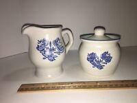 Pfaltzgraff Yorktowne Sugar and Creamer Set Blue Stoneware