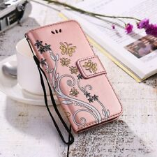 Women's Flip Wallet Case Flower Butterfly Print Leather Cover For iPhone 5 6 7 8