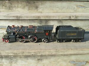 Prewar Lionel 385E standard gauge steam locomotive and tender, gunmetal, 384T