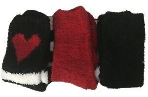 Betsey Johnson Cozy Socks 3 Pair Soft Fleece Red Black White Size 9-11 No Box
