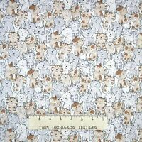 Animal Fabric - Gray White Brown Cartoon Cats Packed - Timeless Treasures YARD