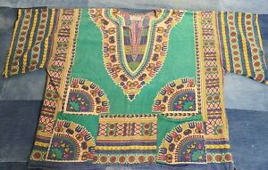 Gypsy Rose African Tribal Dashiki Pullover Ethnic Hippie grateful blouse shirt L