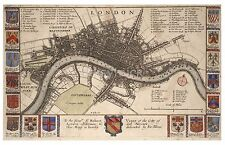 Wenceslas Hollar Map Plan of London before the Great Fire, Reprint 12x8 Inch