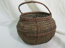 "Antique Vintage Woven  Basket with Handle  4"" deep 6"" diameter"