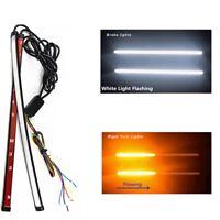 2PCS Flowing Switchback LED Strip Dual Color DRL LED Strobe Light White/Amber