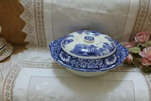 Antique English Blue White Covered Vegetable / Serving Bowl Oriental Patt 11a