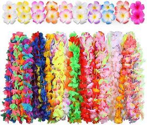 Hawaiian Luau Party Supplies-Hawaiian Leis(60Ct) with Hawaiian Flower Hair Clips