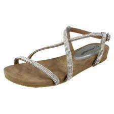 Sandalias y chanclas de mujer de color principal plata de piel talla 40