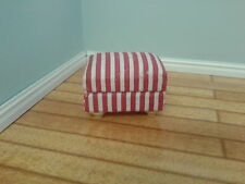 Dolls House Miniatures 1/12th  Red & White Striped Footstool Accessory DF216