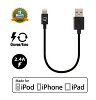 Apple MFi Certified Lightning Connector to USB Cable (Black Short Length 7.5in)