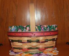 Longaberger Small Easter Natural Basket, Egg Liner and Protector ~ 1997 Euc