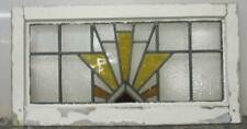 """OLD ENGLISH LEADED STAINED GLASS WINDOW Gorgeous Geometric Burst 22/"""" x 13.5/"""""""