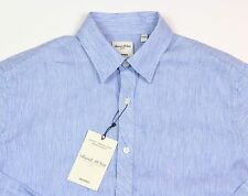 Men's MURANO Fresh Blue White Stripe / Striped Linen Shirt XL XLarge NEW NWT HOT