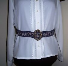 Civil War/Victorian/Sass Ladies Adjustable Belt (navy and multi colors) max. 40""