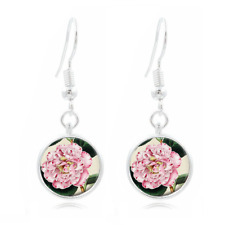 Pink Flower Photo Tibet Silver Dome Photo 16MM Glass Cabochon Long Earrings#401