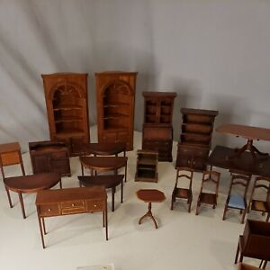 lot of vintage handmade wood dollhouse furniture, parts,repairs, etc