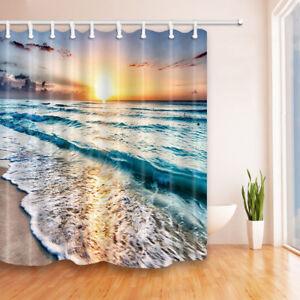 Beach Ocean Waves Sunrise Shower Curtain Bathroom Waterproof Fabric Long 84 Inch